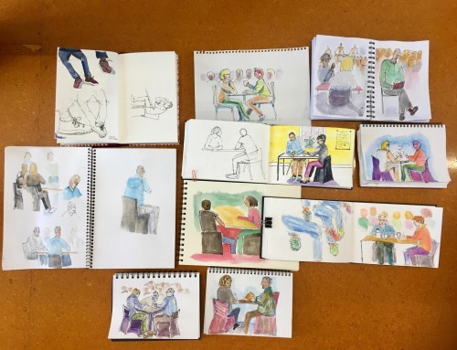General sketchers -legs and feet focus then people socialising in cafes…