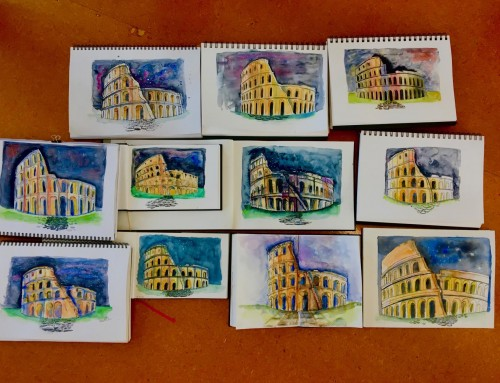 Ongoing sketchers – week 3 : Colosseum by night, plus extended water and sea pages.