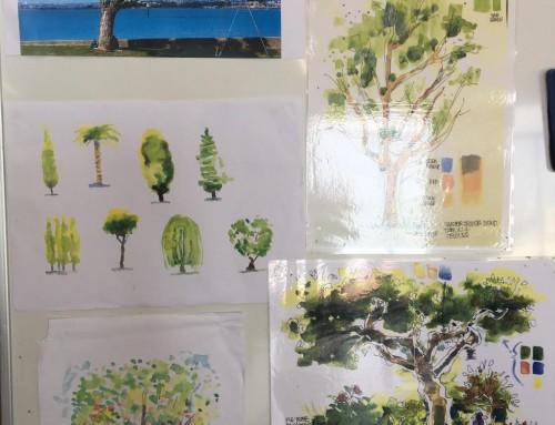 New sketchers : Week 4. trees, foliage pen/ aquarelles and watercolour