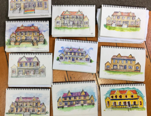 new sketchers : flat perspective – old houses.