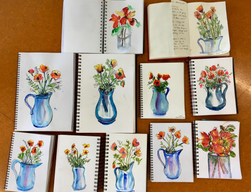 Term 2 -ongoing sketchers  – poppies watercolour first using dagger brush then 8b pencil