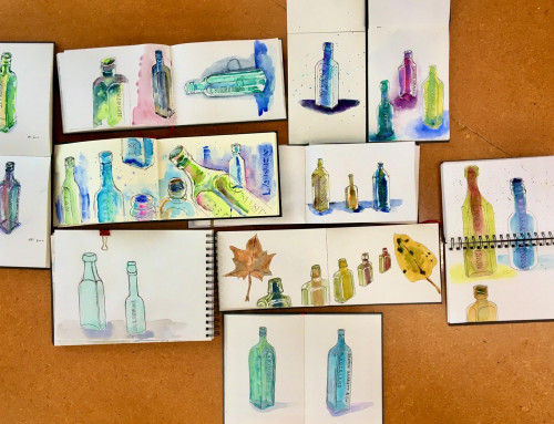 Ongoing sketchers:'Old' bottles and leaves from 'Old 'Albert Fig tree