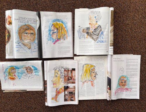 Ongoing sketchers :  sketching faces – pen and watercolour on magazines